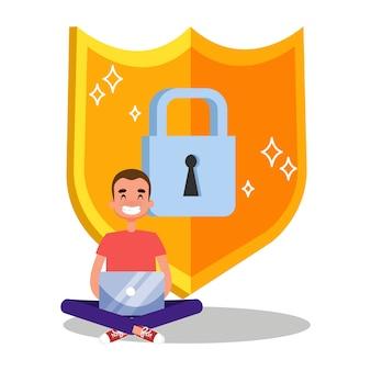Ilustração do conceito de segurança e proteção de dados na internet