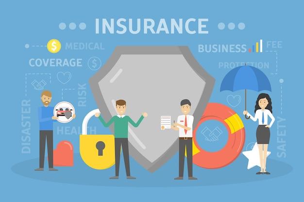Ilustração do conceito de seguro