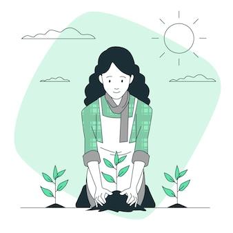 Ilustração do conceito de semeadura