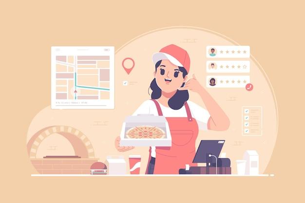 Ilustração do conceito de serviço de entrega de pizza