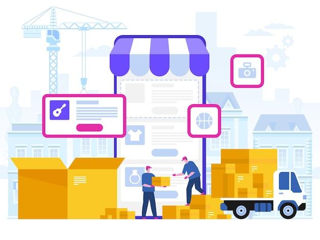 Ilustração do conceito de serviço de entrega