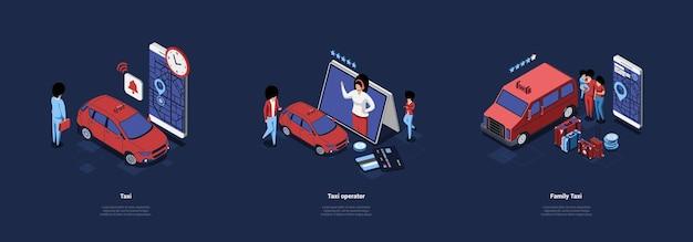 Ilustração do conceito de serviço de táxi