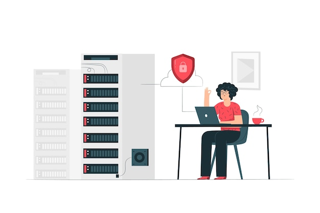 Ilustração do conceito de servidor seguro