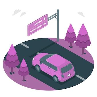 Ilustração do conceito de sinalização rodoviária