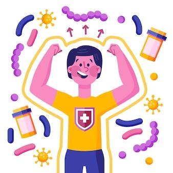 Ilustração do conceito de sistema imunológico