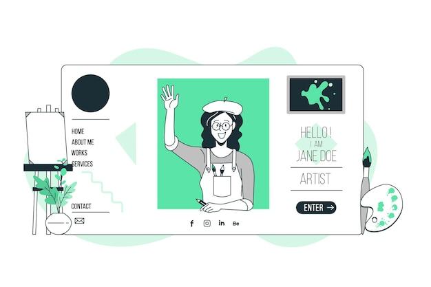 Ilustração do conceito de site pessoal
