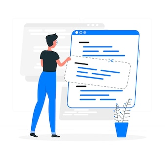 Ilustração do conceito de snippets de código
