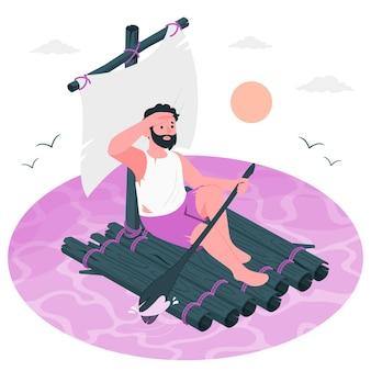 Ilustração do conceito de sobrevivente de naufrágio