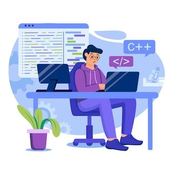 Ilustração do conceito de software de programação com personagens em design plano