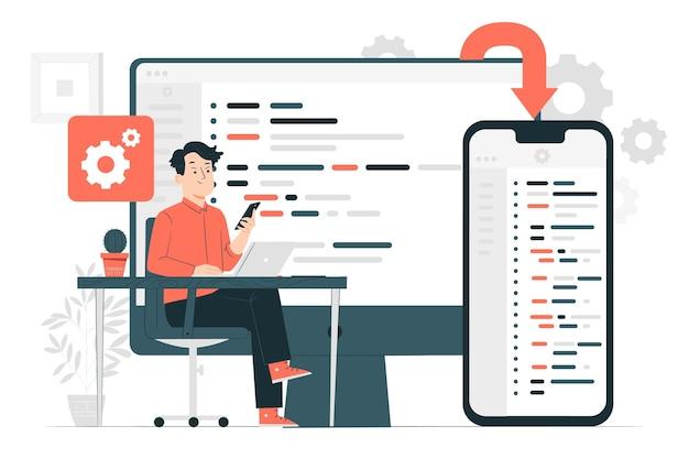 Ilustração do conceito de software multiplataforma