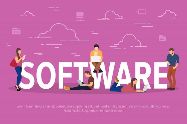 Ilustração do conceito de software. pessoas de negócios que usam dispositivos para desenvolvimento de aplicativos ou aplicativos.