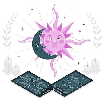 Ilustração do conceito de sol e lua