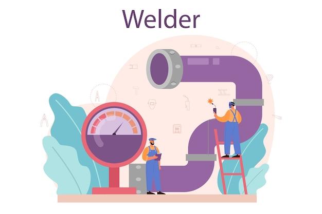 Ilustração do conceito de soldador e serviço de soldagem