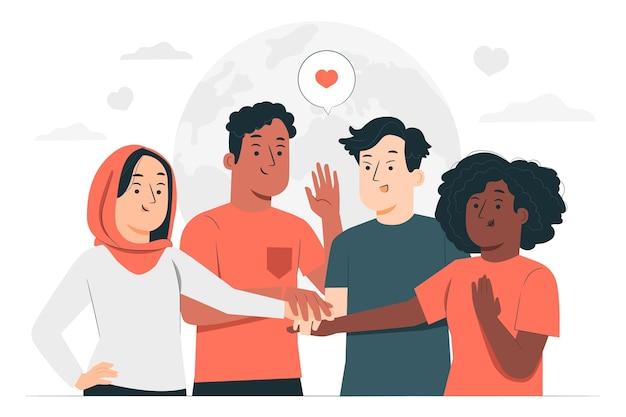Ilustração do conceito de solidariedade
