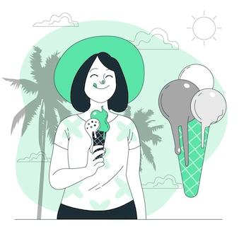Ilustração do conceito de sorvete derretido