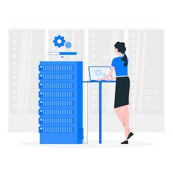 Ilustração do conceito de status do servidor