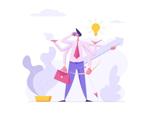 Ilustração do conceito de sucesso empresarial eficiente multitarefa