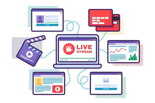 Ilustração do conceito de suporte de transmissão ao vivo da web. ícone semi plano de transmissão on-line de negócios. análise de dados e criação de conteúdo na tela do laptop. desenho de cor isolado de vetor