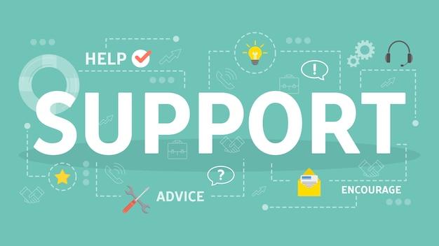 Ilustração do conceito de suporte. idéia de ajuda e assistência.