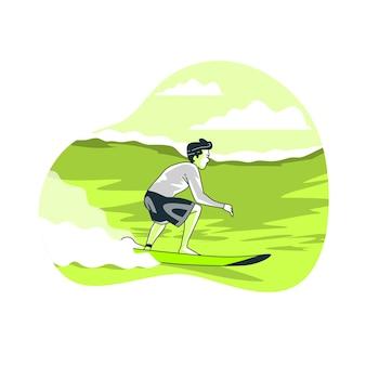 Ilustração do conceito de surfista