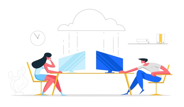 Ilustração do conceito de tecnologias de computação em nuvem