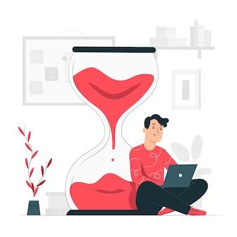 Ilustração do conceito de tempo de trabalho