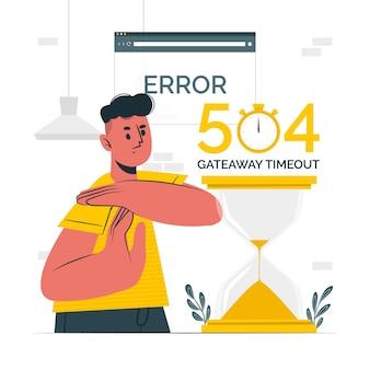 Ilustração do conceito de tempo limite de gateway de erro 504