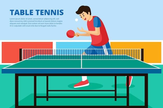 Ilustração do conceito de tênis de mesa com jogador
