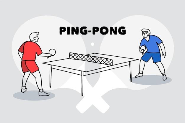 Ilustração do conceito de tênis de mesa com jogadores