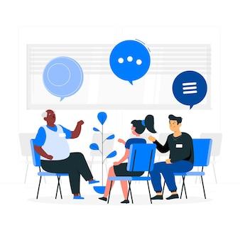 Ilustração do conceito de terapia de grupo