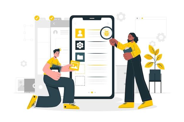 Ilustração do conceito de teste móvel