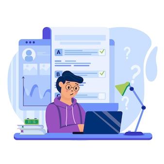 Ilustração do conceito de teste online com personagens em design plano