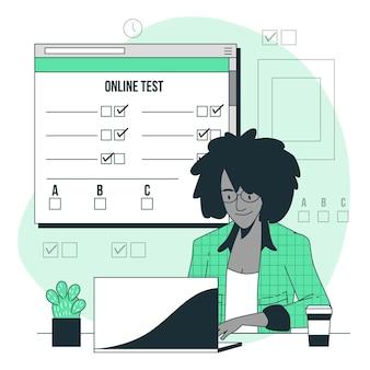 Ilustração do conceito de teste online