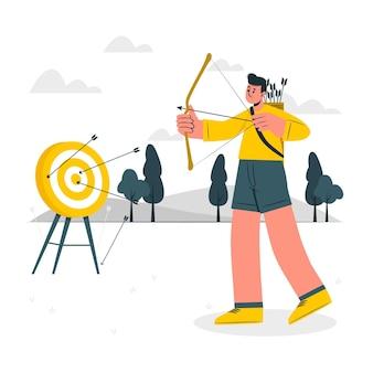 Ilustração do conceito de tiro com arco