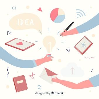 Ilustração do conceito de trabalho em equipe de design gráfico