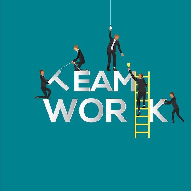 Ilustração do conceito de trabalho em equipe do empresário