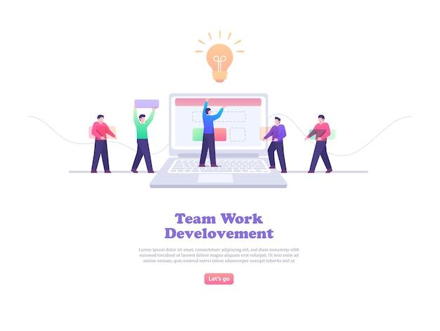 Ilustração do conceito de trabalho em equipe e desenvolvimento web