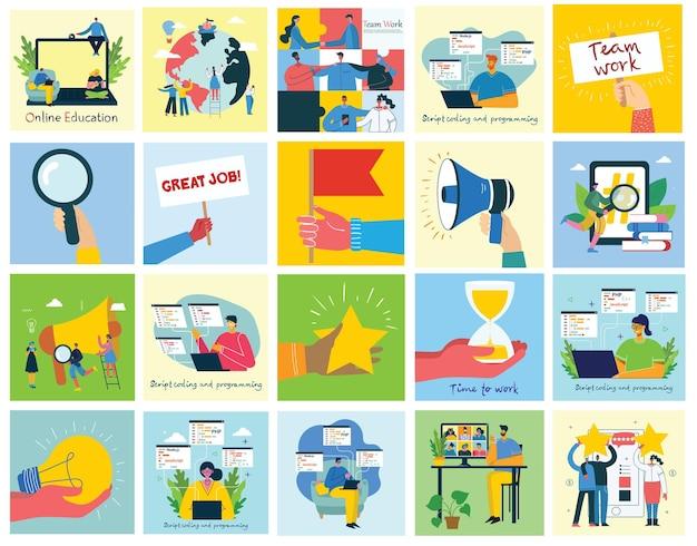 Ilustração do conceito de trabalho em equipe, negócios e inicialização.