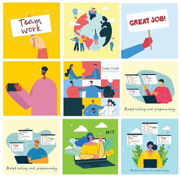 Ilustração do conceito de trabalho em equipe, negócios e origens de design de inicialização.
