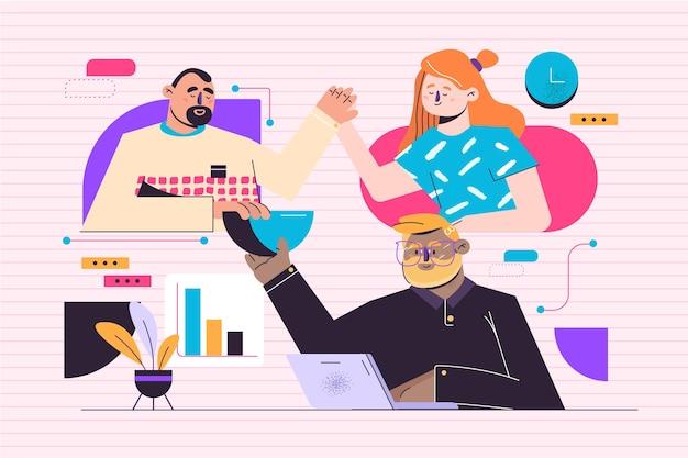 Ilustração do conceito de trabalho em equipe
