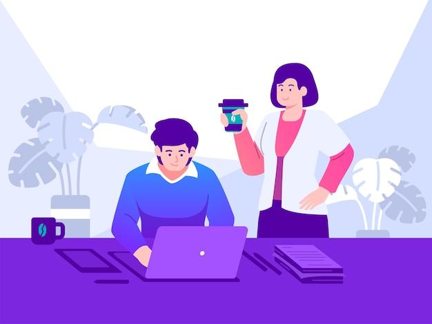 Ilustração do conceito de trabalho na frente do computador