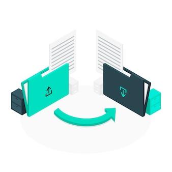 Ilustração do conceito de transferência de arquivo