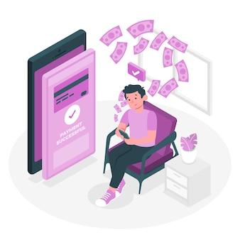 Ilustração do conceito de transferência de dinheiro