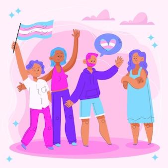 Ilustração do conceito de transfobia de parada de design plano