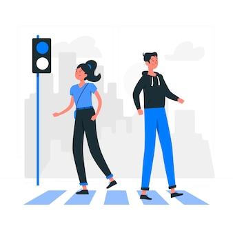 Ilustração do conceito de travessia de pedestres