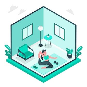 Ilustração do conceito de treinamento em casa
