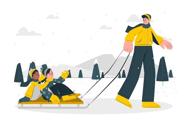 Ilustração do conceito de trenó