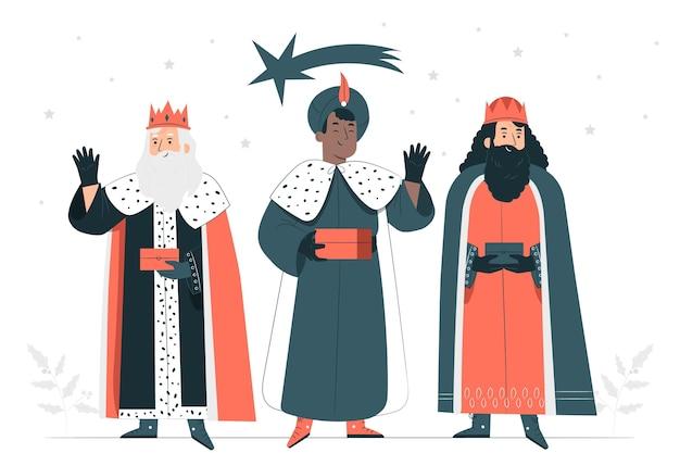 Ilustração do conceito de três reis magos