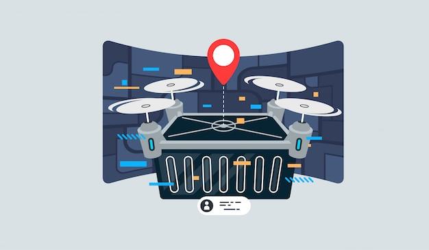 Ilustração do conceito de um drone carregando um pacote.