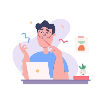 Ilustração do conceito de um jovem com uma pose pensativa